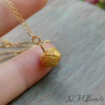 Gold Knotted Ball Pendant Necklace