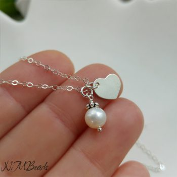 Girls Freshwater Pearl Necklace With Heart Sterling Silver