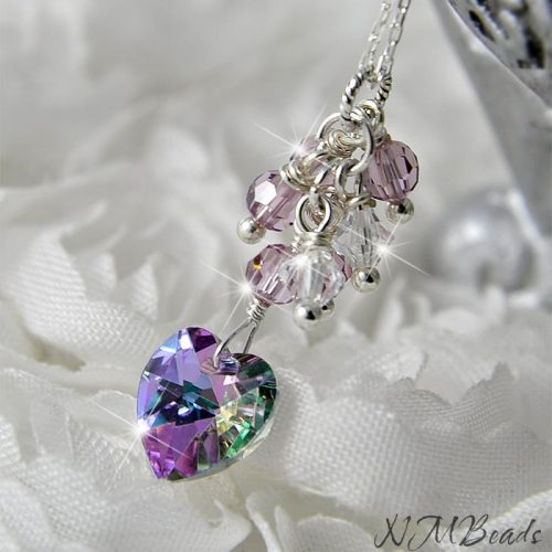 Delicate Purple Swarovski Crystal Heart Cluster Necklace Sterling Silver