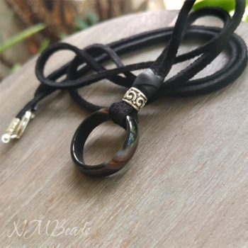 Black Agate Ring Necklace With Black Suede Leather Sterling Silver Boho