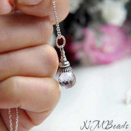 Light Amethyst Pendant Necklace Sterling Silver Delicate Amethyst Quartz Gemstone