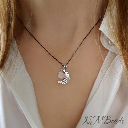 Delicate Crescent Moon Necklace With Moonstone