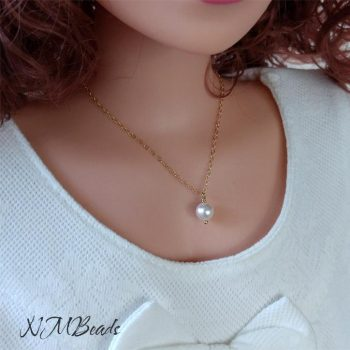 Girls Pearl Necklace Gold Filled Or Sterling Silver June Birthstone
