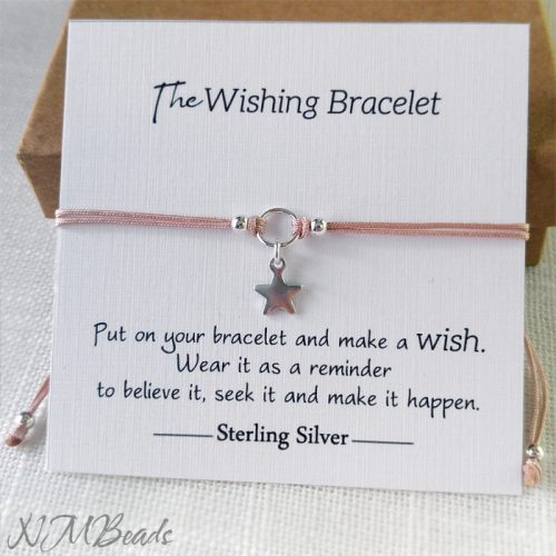 Delicate Star Bracelet Sterling Silver Choose Color Adjustable Stacking Simple String Wish Bracelet