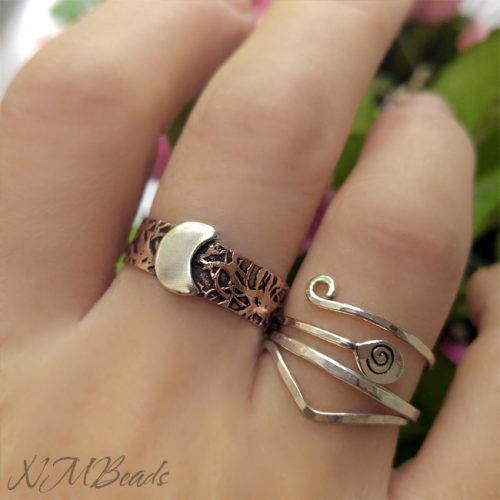 Rustic Crescent Moon Ring With Copper Band Adjustable