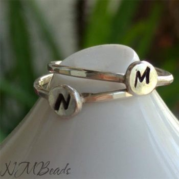 Custom Personalized Initial Ring Hammered Sterling Silver Stacking Letter Ring