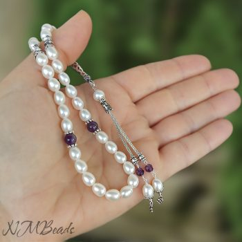 Freshwater Pearl And Amethyst 33 Prayer Beads With Tassel Sterling Silver