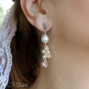 Wedding Bridal Long Cluster Earrings