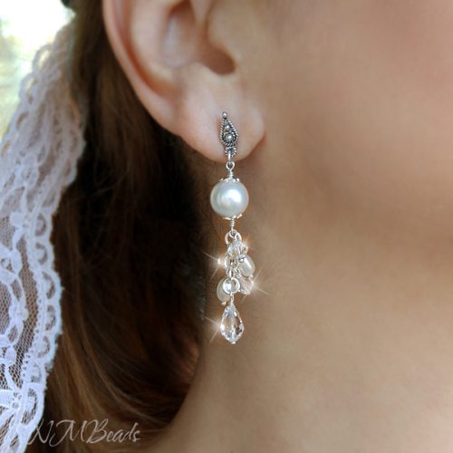 Wedding Bridal Long Cluster Earrings With Swarovski Crystals And Pearls Sterling Silver
