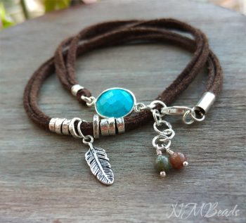 Turquoise Bracelet With Feather Brown Suede Leather Wrap Bracelet Sterling Silver