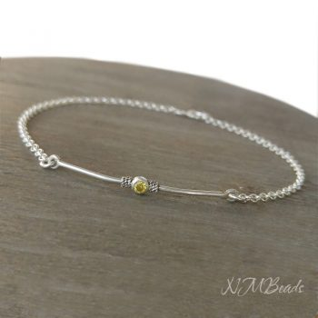 Delicate Bar With Yellow Cz Bracelet Sterling Silver November Birthstone