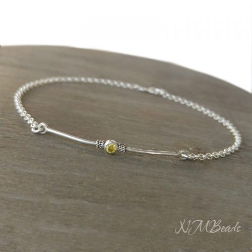 Delicate Bar With Yellow Cz Bracelet Sterling Silver