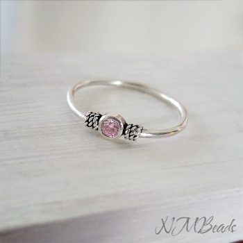 Personalized Children Birthstone Ring Sterling Silver