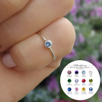 Tiny Birthstone Ring Adjustable Personalized Little Girls Jewelry