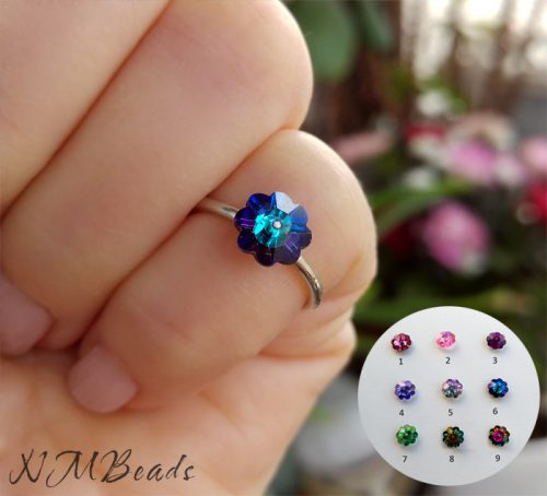 Custom Children Swarovski Flower Ring Sterling Silver