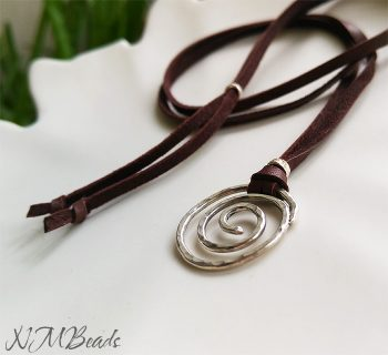 Boho Chic Long Spiral Necklace With Brown Deerskin Leather Sterling Silver