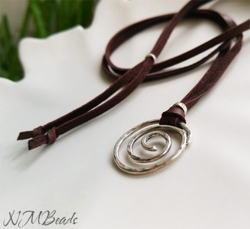 Boho Chic Long Spiral Necklace With Brown Deerskin Leather