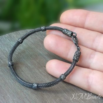 Mens Hand Braided Rope Chain Bracelet Oxidized Fine Silver Viking Knit Chain