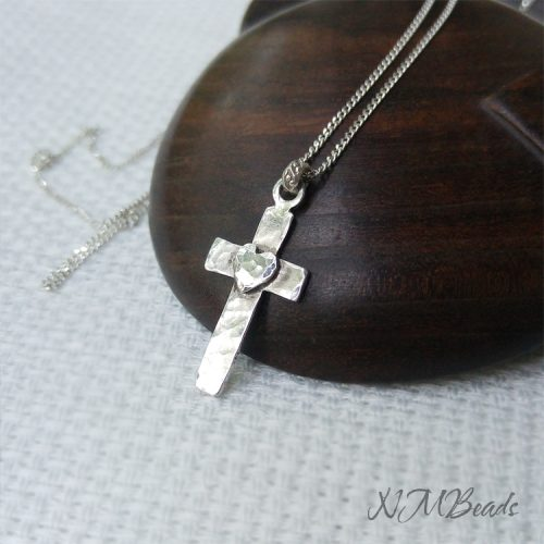 Artisan Cross Pendant With Heart Sterling Silver