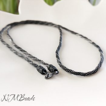 Spiral Rope Chain Necklace Oxidized Fine Silver OOAK Hand Braided
