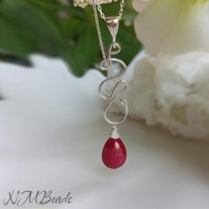 Artisan Ruby Necklace Squiggle Pendant Sterling Silver