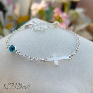 Cross Bracelet With Evil Eye Sterling Silver Christening Gift For Girls Boys